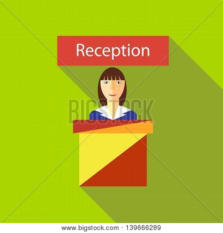 Reception in hotel icon in flat style with long shadow. Meeting guests symbol