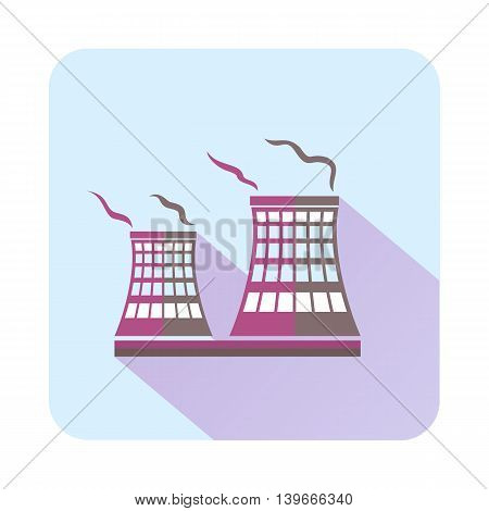 Tower of chemical factory icon in flat style with long shadow. Chemistry symbol