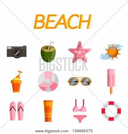Beach icon set. Flat design trend. Vector illustration