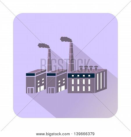 Large chemical plant icon in flat style with long shadow. Chemistry symbol