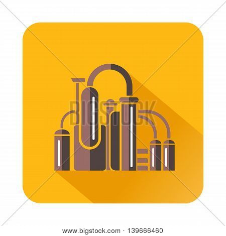 Chemical equipment icon in flat style with long shadow. Chemistry symbol
