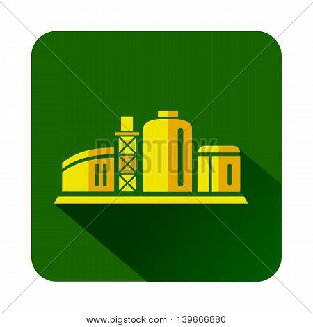 Chemical plant icon in flat style with long shadow. Chemistry symbol