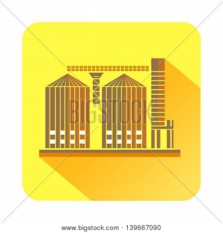 Tower plant icon in flat style with long shadow. Chemistry symbol