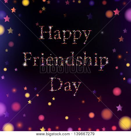 Vector Illustration Card With Colorful Text For Friendship Day