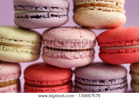 Tasty colorful macaroons, close up