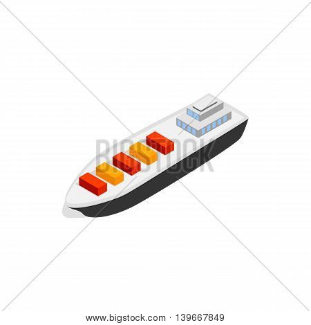 Cargo ship icon in isometric 3d style isolated on white background. Maritime transport symbol
