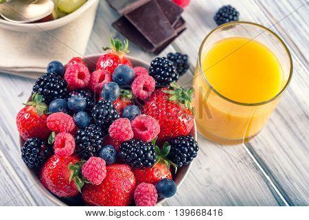 Bowl Of Fresh Fruit. Bblackberries; Raspberries; Blueberries.