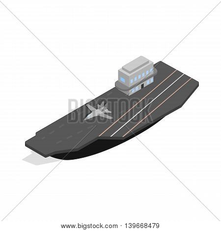 Ship with landing strip for airplanes icon in isometric 3d style isolated on white background. Maritime transport symbol