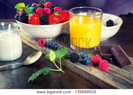 Bowl Of Berries. Healthy Breakfast.