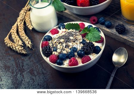 Bowl Of Berries With Oatmeal And Chia