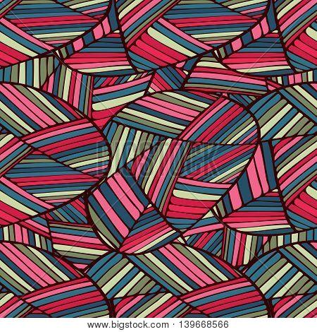 Tribal ethnic red seamless pattern. Boho art print. Bright background