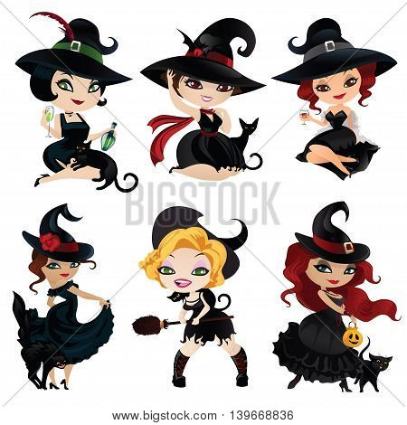 Set of six charming witches. Witches isolated on white background. Beautiful witches for Halloween in cartoon style. Vector illustration.