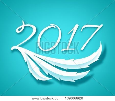 Happy New Year 2017 background. Calendar design typography calligraphic vector illustration. Paper white digits with shadows on colorful background. Rooster tail design.