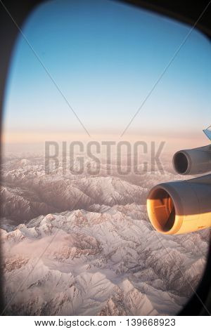 Beautiful View From The Aircraft To The Mountains In Tashkent, China And Kirgistan And Aircraft Turb