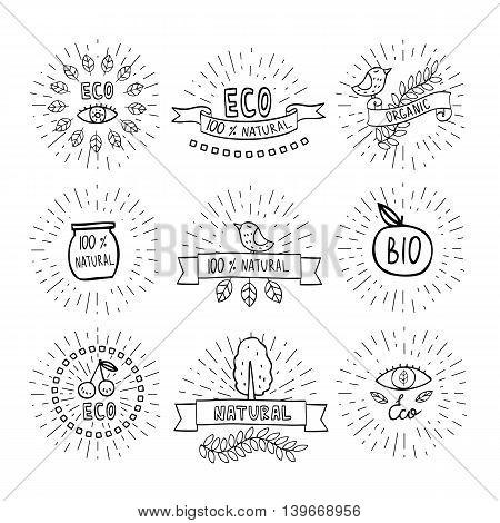 Modern hand drawn design organic, bio, natural logotypes set.