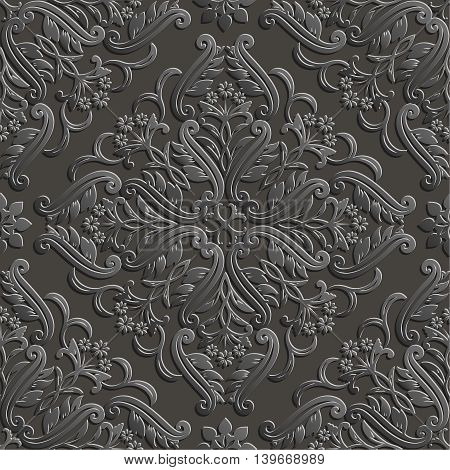Vector seamless pattern. 3d luxury elegant texture in Baroque style. Pattern can be used as a background wallpaper wrapper page fill element of ornate decoration