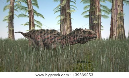 3d illustration of hunting majungasaurus