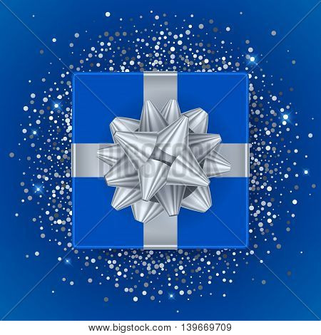 New year christmas blue gift box with silver ribbon and bow - top view vector illustration. Glitter glow sequines on blue background. Good for seasonal advertising poster banner flyer design.