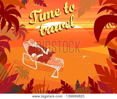 Sunset on a tropical beach, summer, santa claus, holiday, time to travel. Vector illustration EPS10