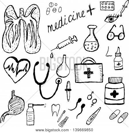 Medical set sketch hand drawing style. Medicine icons. Vector illustration