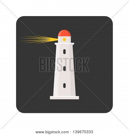 Vector lighthouse icon, flat design on round corner background