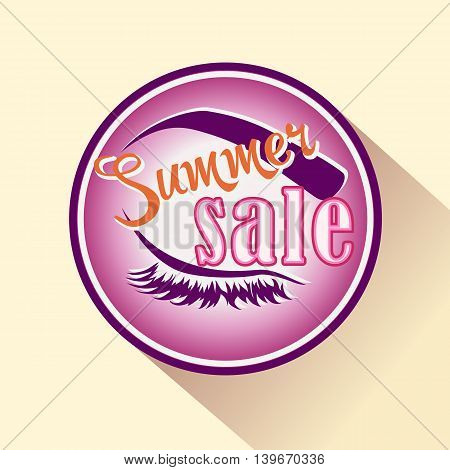 Summer sale icon cosmetics shop. Vector isolated badge for makeup and beauty.