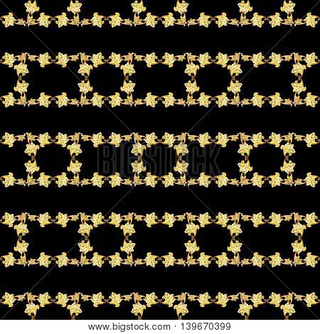 Gorizontal seamless gold floral patterns on black background