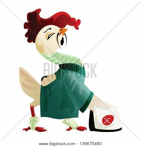 White cock in a green kimono cartoon character. Cute cartoon character for your design.