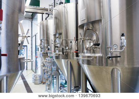 Close-up of beer distillery at bewery