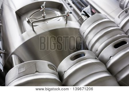 Low angle view of keg and beer distillery at bewery