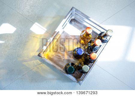 Sealed beer bottle in carte at bewery