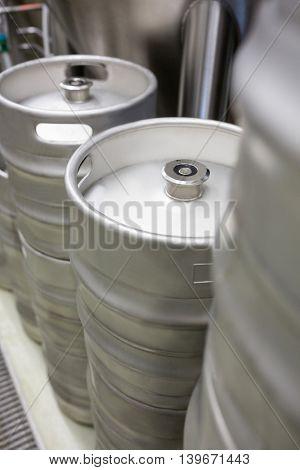 Close-up of keg at bewery