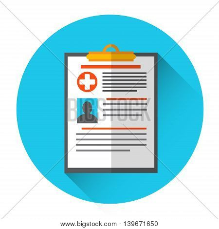 Medical Diagnosis Paper Document Medicine Icon Flat Vector Illustration
