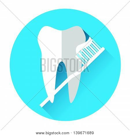 Tooth With Brush Medical Care Icon Flat Vector Illustration