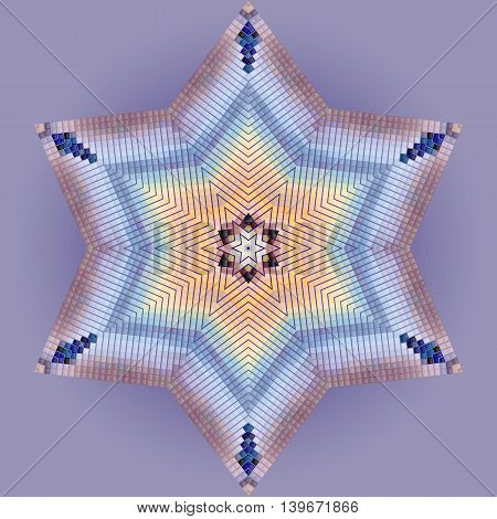 Abstract multicolored mosaic in the form of star on violet background