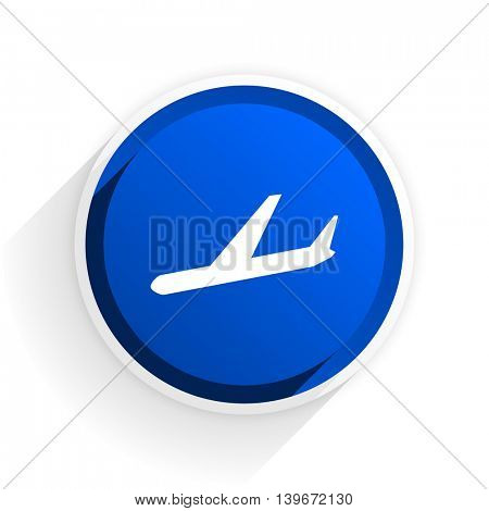arrivals flat icon with shadow on white background, blue modern design web element