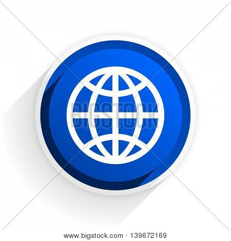earth flat icon with shadow on white background, blue modern design web element