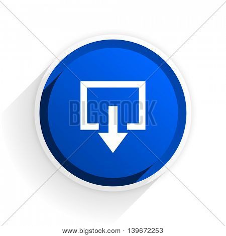 exit flat icon with shadow on white background, blue modern design web element