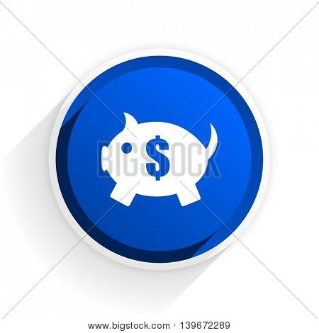 piggy bank flat icon with shadow on white background, blue modern design web element