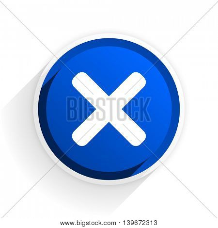 cancel flat icon with shadow on white background, blue modern design web element