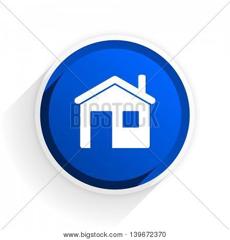 house flat icon with shadow on white background, blue modern design web element