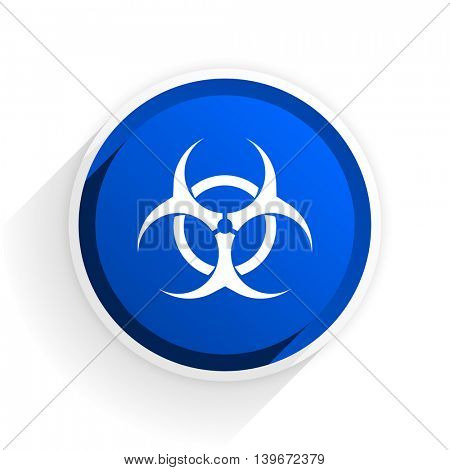 biohazard flat icon with shadow on white background, blue modern design web element