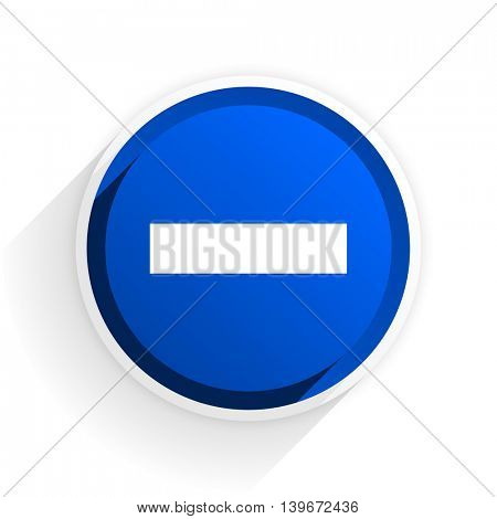 minus flat icon with shadow on white background, blue modern design web element