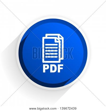 pdf flat icon with shadow on white background, blue modern design web element,