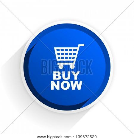buy now flat icon with shadow on white background, blue modern design web element
