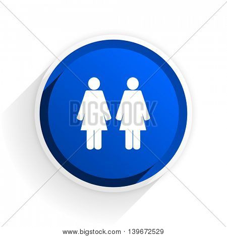couple flat icon with shadow on white background, blue modern design web element