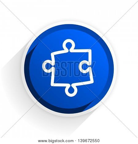 puzzle flat icon with shadow on white background, blue modern design web element