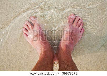 feet at the beach standing in salt water