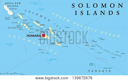 Solomon Islands political map with capital Honiara on Guadalcanal. Sovereign country consisting of six major islands in Oceania between Papua New Guinea and Vanuatu. English labeling. Illustration.