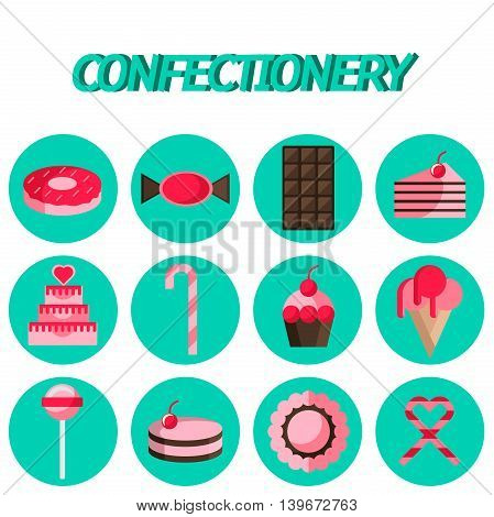 Cakes, Cake, Confectionery flat icon set . Infographics with food items